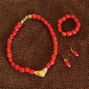 Red Glass Beaded Neclace Set